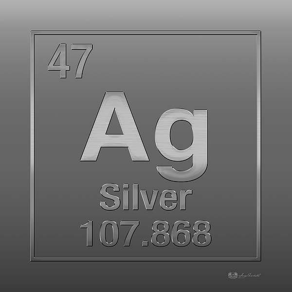 Periodic Table Of Elements - Silver - Ag - Silver On Silver Print by