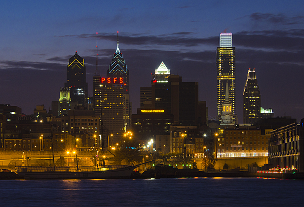 Philadelphia Skyline At Night Print by Brendan Reals