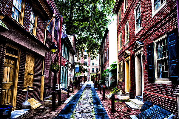 Philadelphia's Elfreth's Alley Print by Bill Cannon