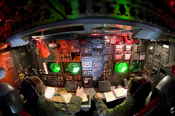 Pilots At The Controls Of A B-52 Print by Stocktrek Images