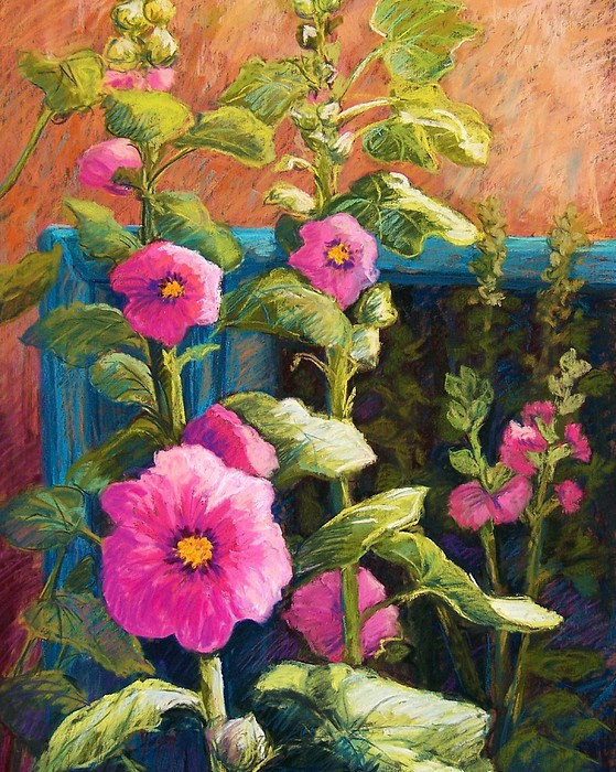 Pink Hollyhocks Print by Candy Mayer