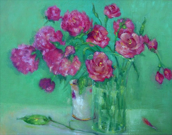 Pink Roses And Peonies         Copyrighted Print by Kathleen Hoekstra