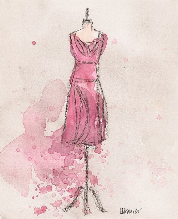 Pink Tulip Dress Print by Lauren Maurer