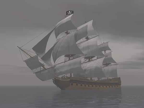 Pirate Ship In Fog- 3d Render Print by Elena Duvernay