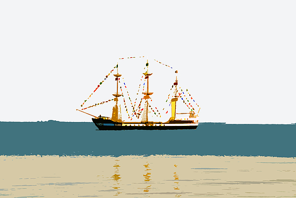 Pirate Ship On The Horizon Print by David Lee Thompson