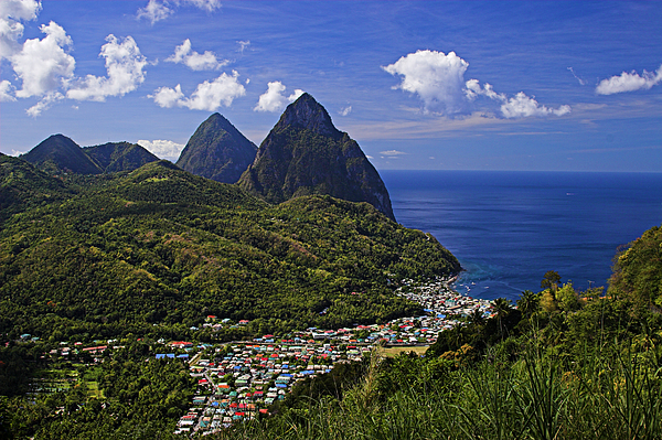Pitons St Lucia Print by Chester Williams