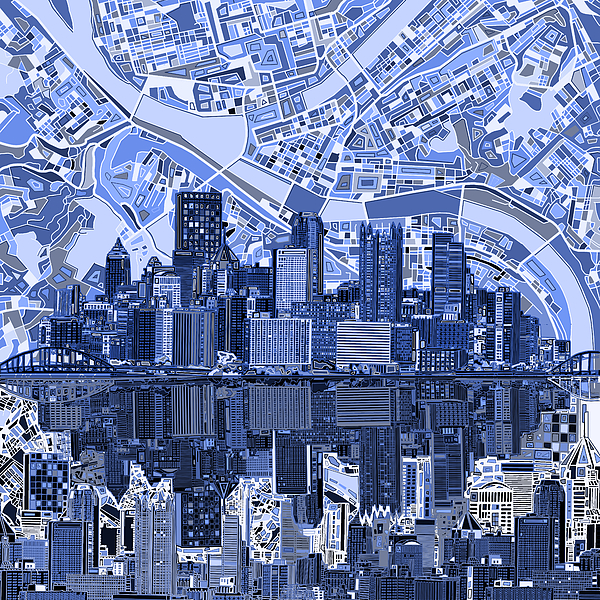 Pittsburgh Skyline: Pittsburgh Skyline Abstract 4 By MB Art Factory