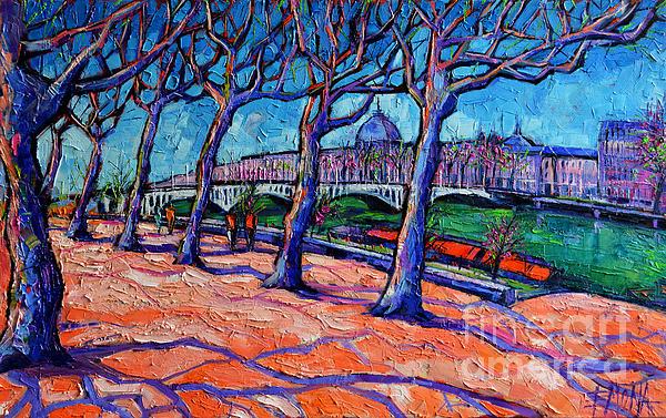 Mona Edulesco - Plane Trees Along The Rhone River - Spring In Lyon
