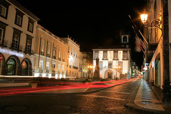 Ponta Delgada At Night Print by Gaspar Avila