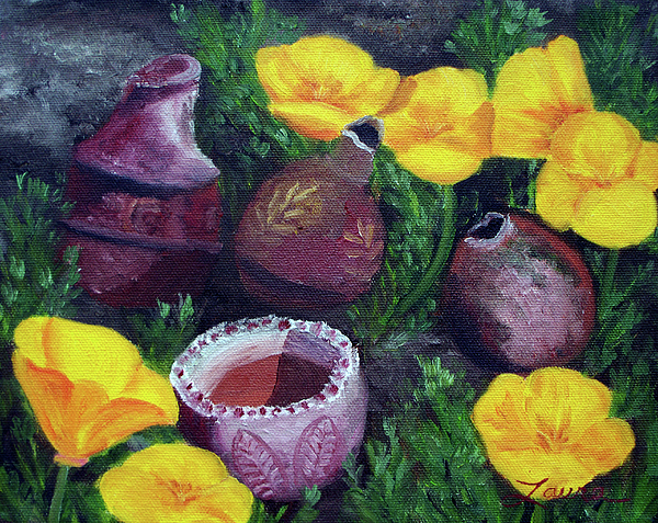 Poppies And Pottery Print by Laura Iverson
