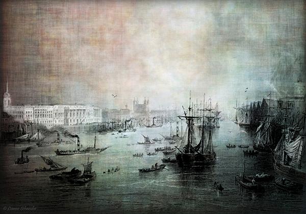 Port Of London - Circa 1840 Print by Lianne Schneider
