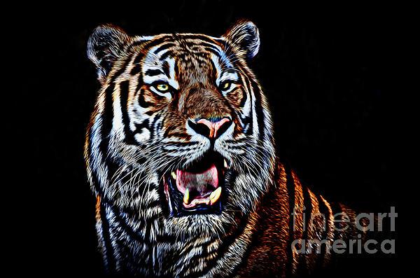 Jim Fitzpatrick - Portrait of a Tiger Glowing Version