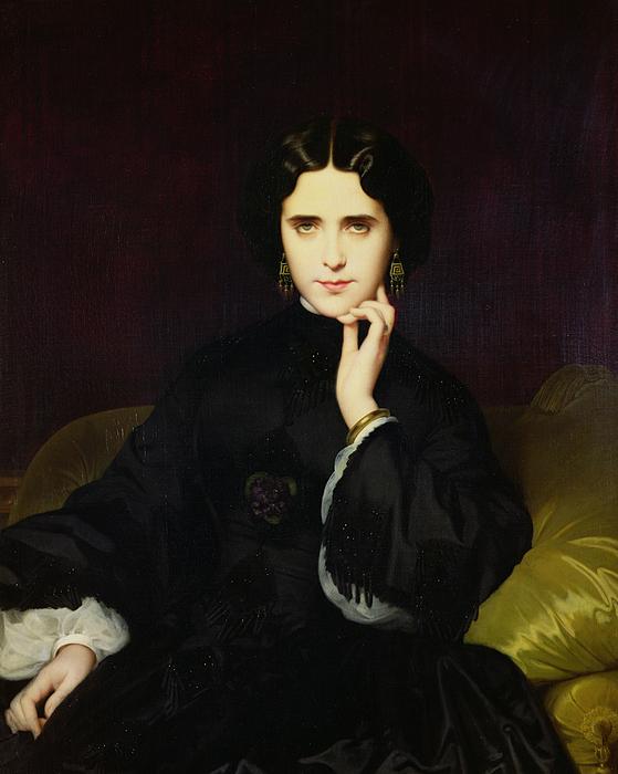 Portrait Of Jeanne De Tourbay Print by Eugene Emmanuel Amaury-Duval