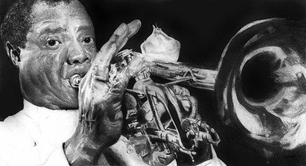 Portrait Of Louie Armstrong Print by Carrie Jackson