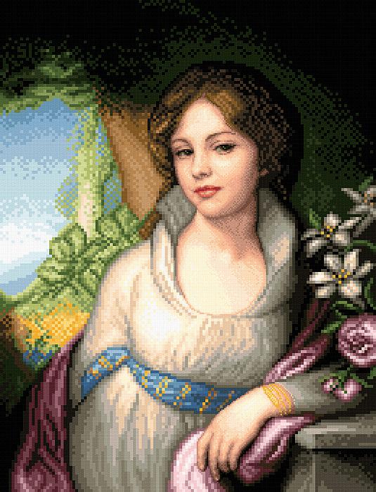 Portrait Of Maria Lopukhina Print by Stoyanka Ivanova