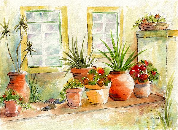 Portuguese Planters Print by Pat Katz