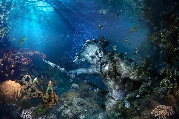 Poseidon Print by Marc Huebner