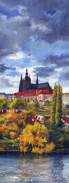 Prague Castle With The Vltava River Print by Yuriy  Shevchuk