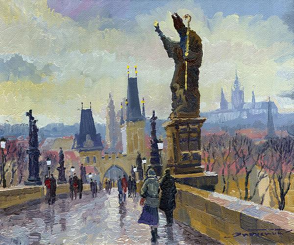 Prague Charles Bridge 04 Print by Yuriy  Shevchuk