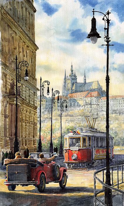 Prague Kaprova Street Print by Yuriy  Shevchuk