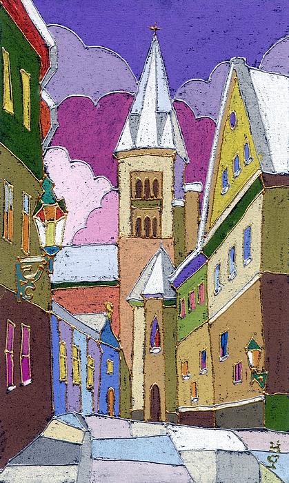 Prague Old Street Jilska Winter Print by Yuriy  Shevchuk