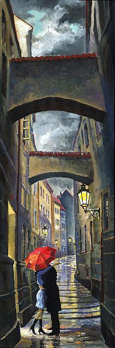 Prague Old Street Love Story Print by Yuriy  Shevchuk