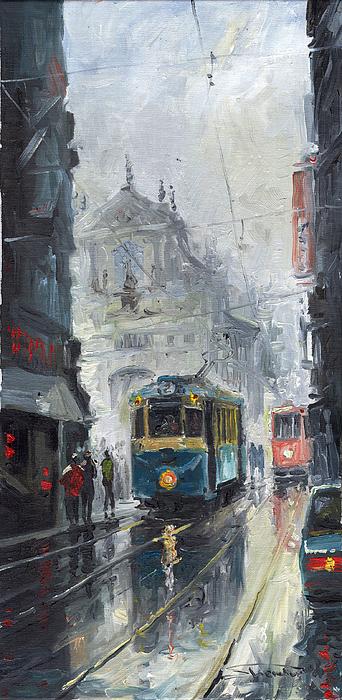Prague Old Tram 04 Print by Yuriy  Shevchuk