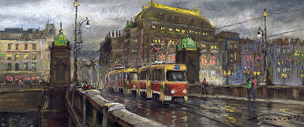 Prague Tram Legii Bridge National Theatre Print by Yuriy  Shevchuk