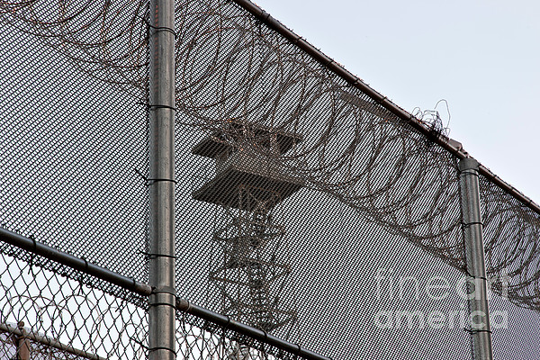 Prison Tower And Fence By Inga Spence