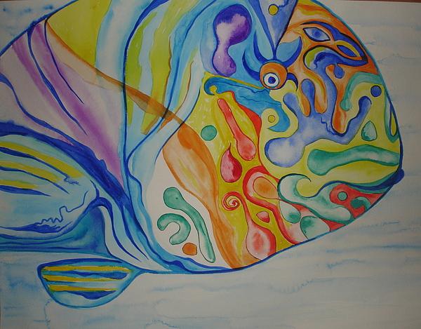 Psychedelic Parrotfish Print by Erika Swartzkopf