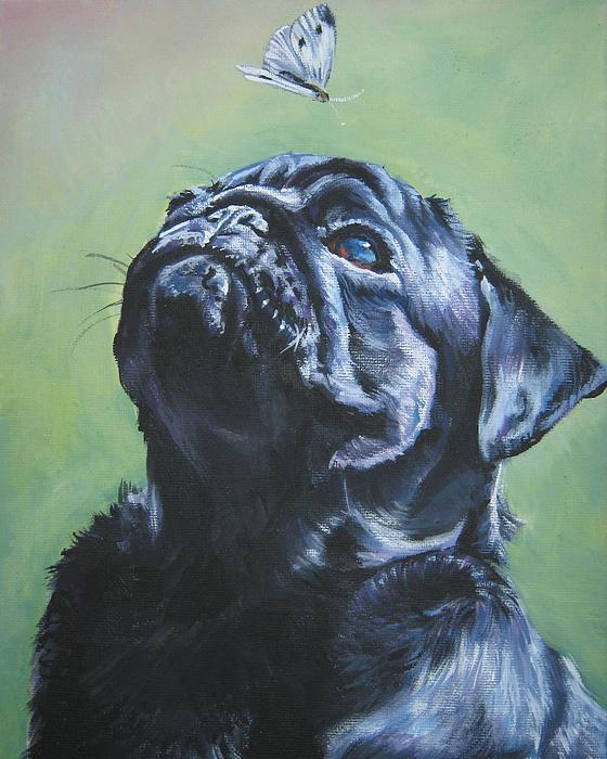 Pug Black Print by L A Shepard