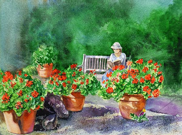 Quiet Moment Reading In The Garden By Irina Sztukowski