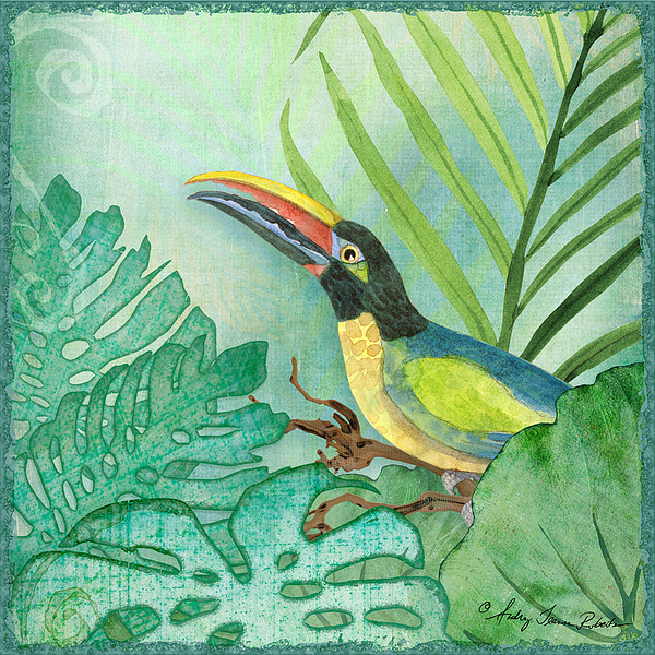 Rainforest Tropical - Jungle Toucan W Philodendron Elephant Ear And ...