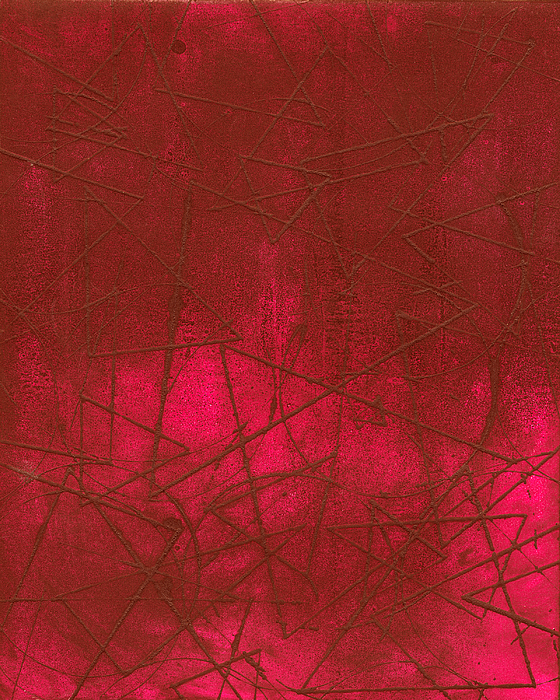 Red Abstract Shapes Print by Rockstar Artworks