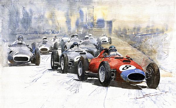 Red Car Ferrari 801 German Gp 1957 Print by Yuriy  Shevchuk