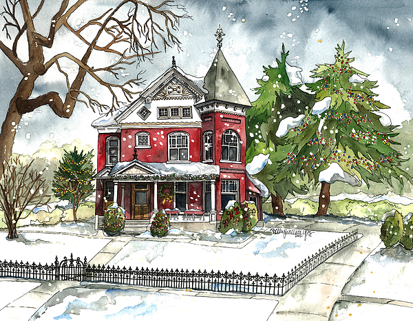 Shelley Wallace Ylst - Red House in the Snow