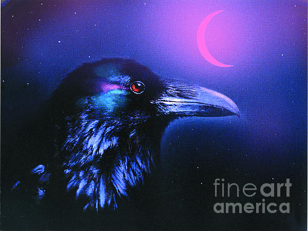 Red Moon Raven Print by Robert Foster