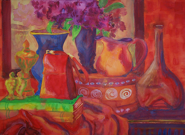 Red Purse On Green Book Print by Blenda Studio