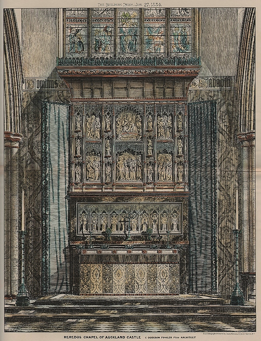 Reredos Chapel Of Aukland Castle 1884 Print by Dodgson Fowler