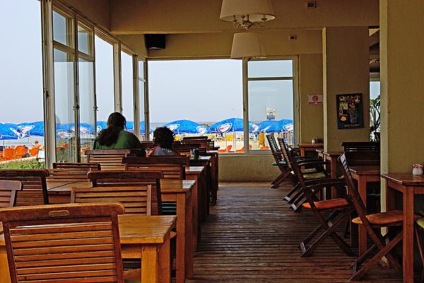 Restaurant On A Beach In Tel Aviv Israel Print by Zalman Lazkowicz