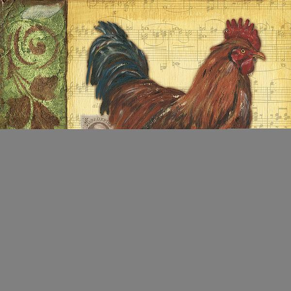 Retro Rooster 2 Print by Debbie DeWitt
