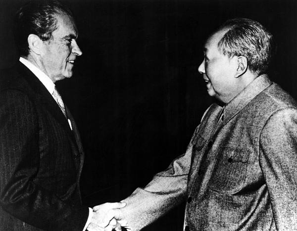 Richard Nixon, Mao Zedong In China, 1972 Print by Everett