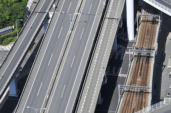 Road And Rail Intersection Print by Andy Smy