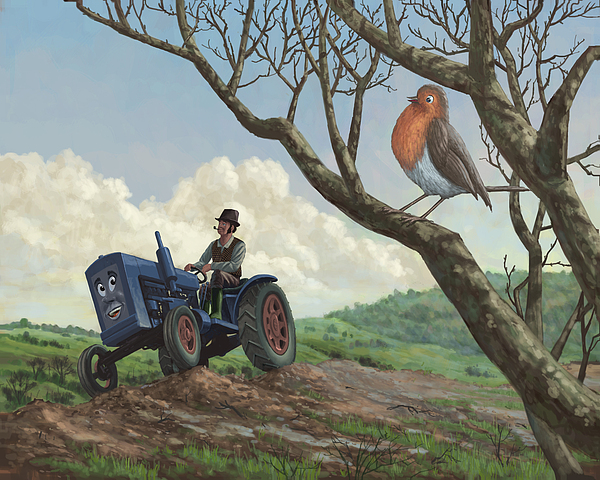 Robin In Field Looking At Farmer Print by Martin Davey