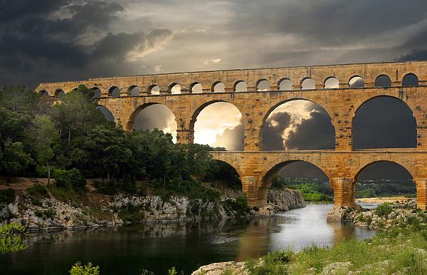 Roman Pont Du Gard Print by Carver Kearney