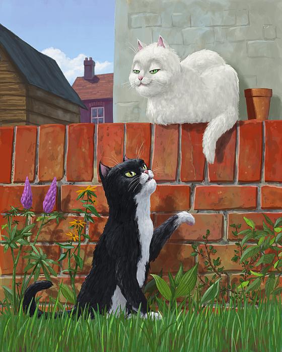 Romantic Cute Cats In Garden Print by Martin Davey