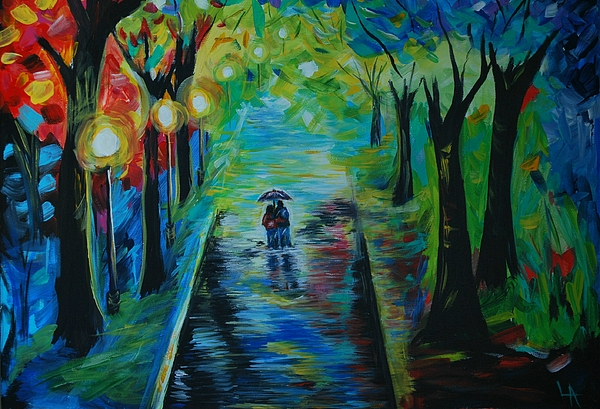 Romantic Stroll Print by Leslie Allen