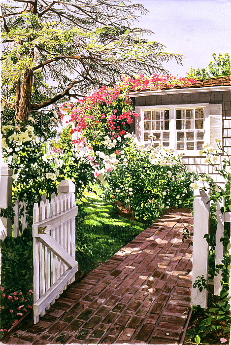Rose Cottage Gate Print by David Lloyd Glover