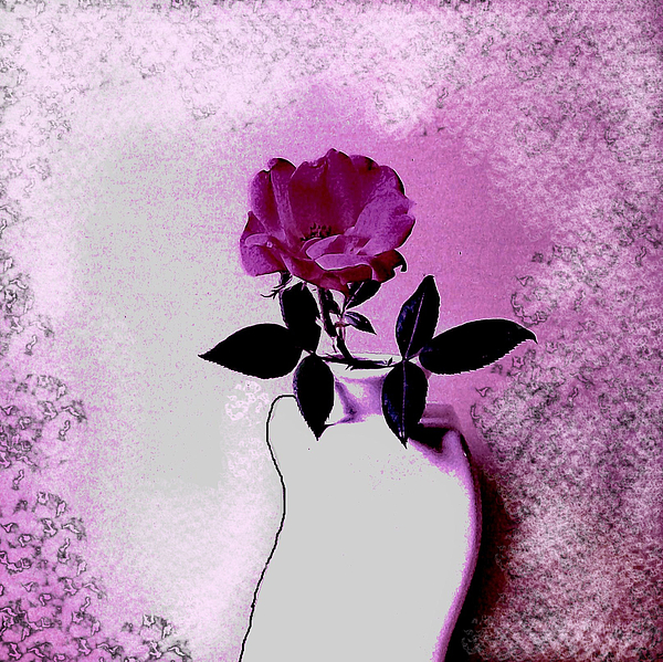 Rose In A Crooked Vase Ll Print by Marsha Heiken