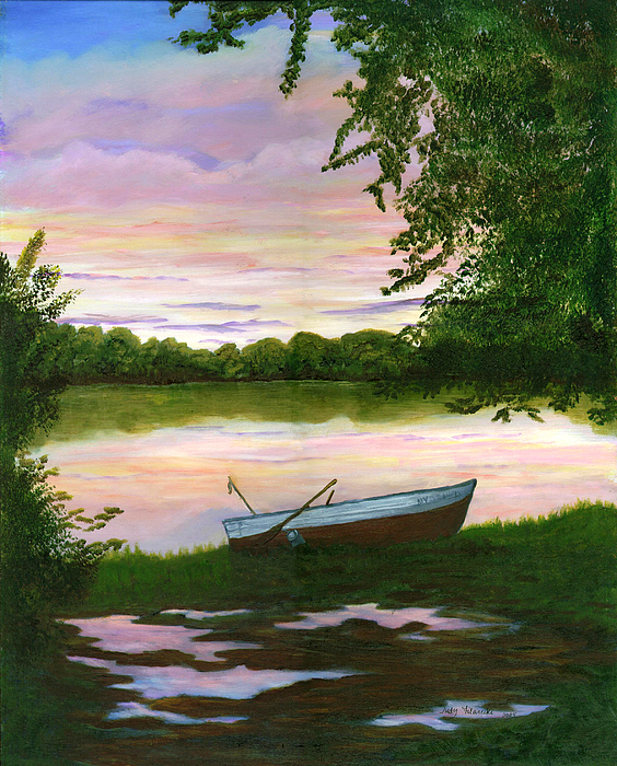 Row Boat Painting Print by Judy Filarecki